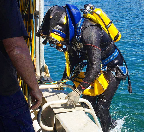 Sea Service Diver getting out of water