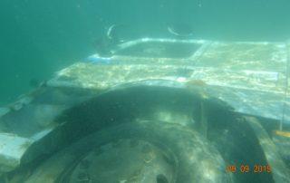 Sewage truck underwater